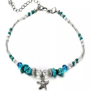 🆕Turquoise Stone Silver Starfish Ankle Bracelet!